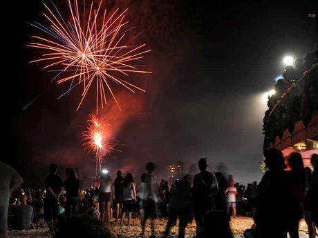 New Year's fireworks at Mooloolaba Beach.