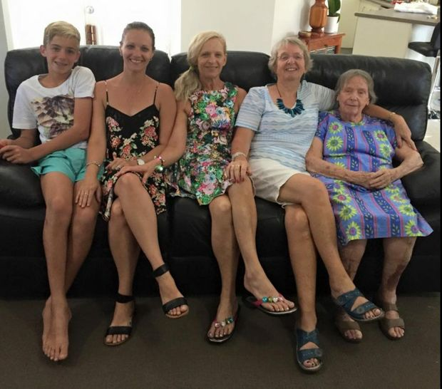 95-year-old local Eileen Murchie celebrates the five generations beside her daughter Carole,Carole's daughter Tracey, Tracey's daughter Katie and finally Katie's son Jacob.