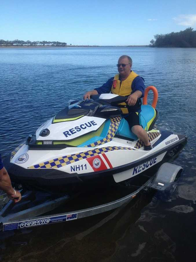 Newly elected Deputy Unit Commander Mick Donnelly shows off Marine Rescue's new Rescue Water Craft Nambucca 11. Photo: Contributed