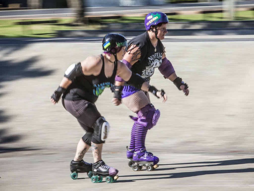 READY TO ROLL: Clarence Valley Roller Derby League skaters Susan Polsen and Virllissa Adams have a roll around the Grafton skate park. Photo: Adam Hourigan/The Daily Examiner