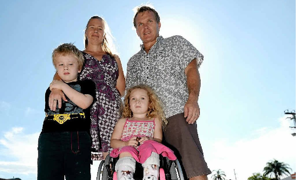 NOT RIGHT: Amber Countryman, pictured with her son Rye, her husband Jason and her disabled daughter Rainey, is fed up with people abusing disabled parks.