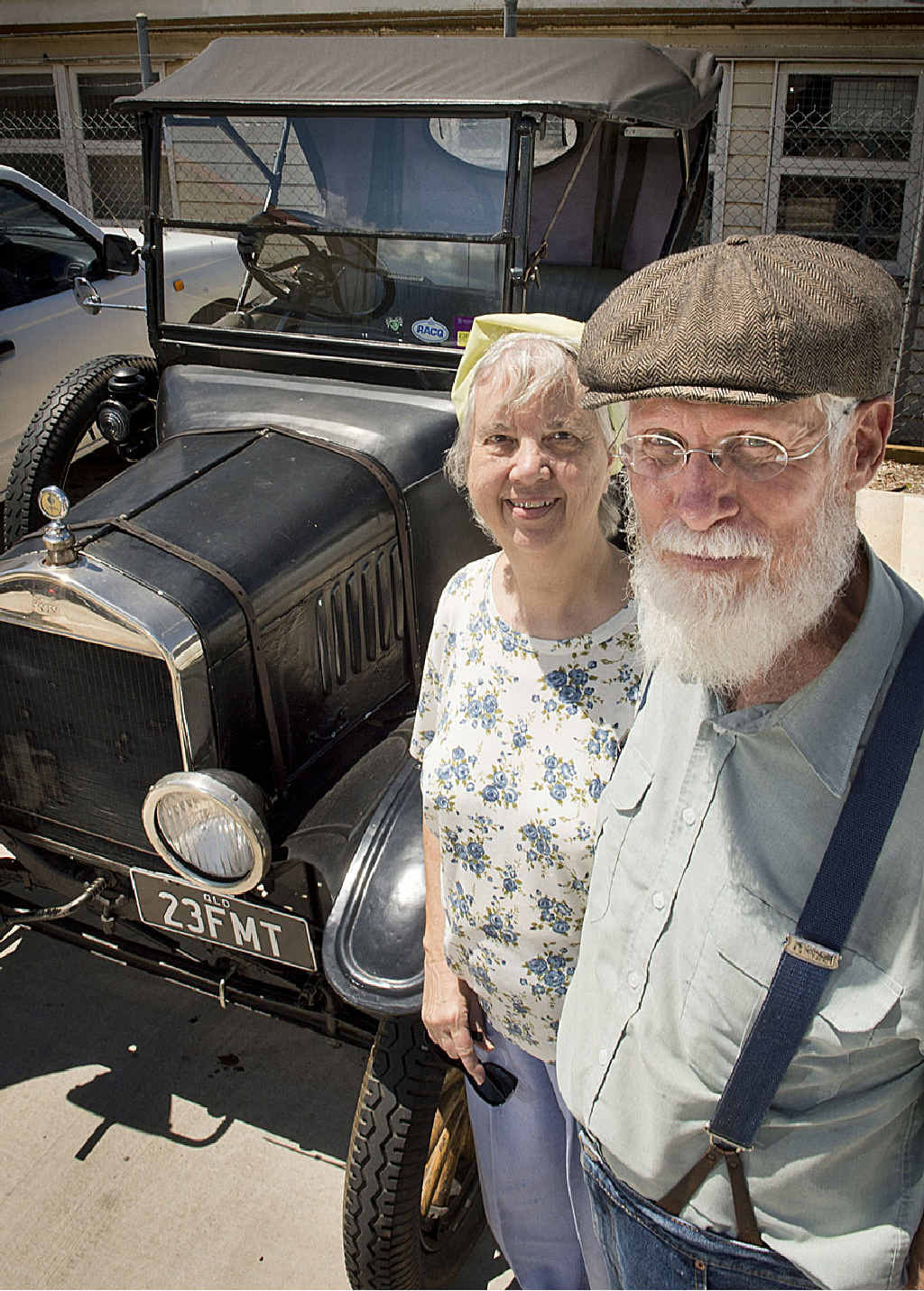 YOUNG AT HEART: Claudia and Jed Perkins and their family car – a Model T Ford – in which they are regularly seen driving the streets of Toowoomba.