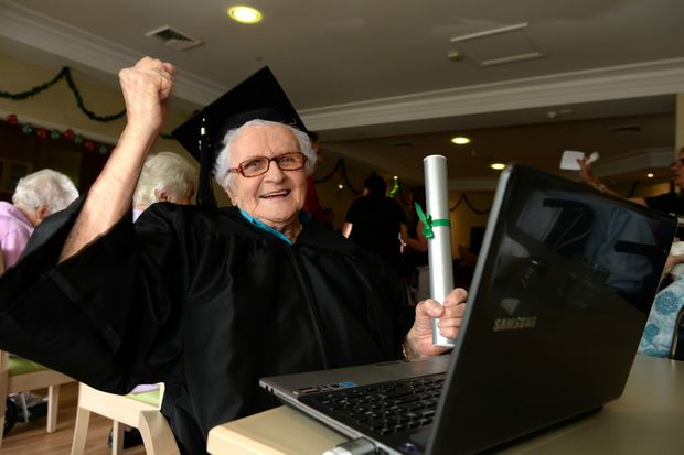 Fran Simmich at her graduation ceremony at Bupa aged care facility in Banora Point. Photo: John Gass / Tweed Daily News