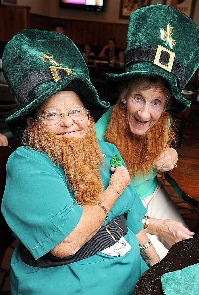 Celebrating St Patricks Day at Hoolihans are (L) Marlene Adsett and Mary Johnson. Photo: Alistair Brightman / Fraser Coast Chronicle