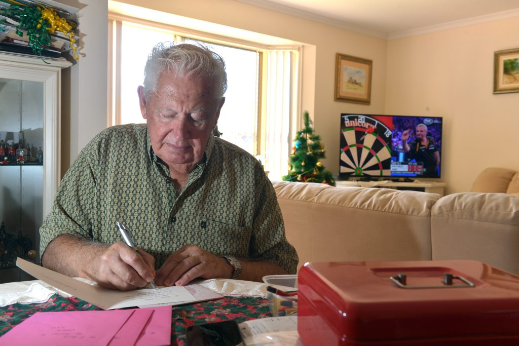 Image for sale: Caloundra resident Frank Goweris unhappy at the price increase in postage stamps. Photo: John McCutcheon / Sunshine Coast Daily