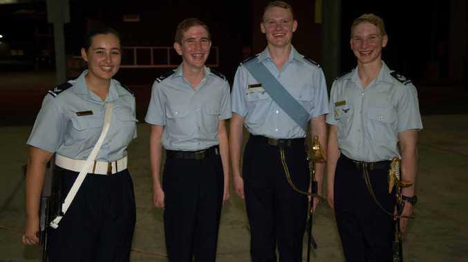 HIGH ACHIEVERS: Cadet Corporal Madeliene King, 16, Leading Cadet Brock Thomas, 16, Cadet Flight Sergeant Samuel Adams, 17, and Cadet Flight Sergeant Tyler Adams, 18.