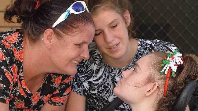 ASKING FOR HELP: Fiona, Courtney and Natasha McBain would be very grateful for any donations to help them buy a wheelchair bus.