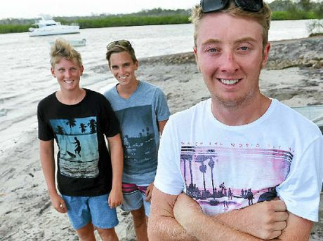 LIGHTNING STRIKE: Brock Walker (right) was saved by his cousins Connor and Jordan Brown.