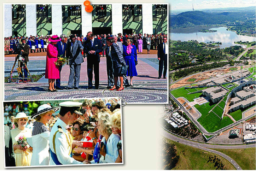 ABOVE: Queen Elizabeth II, prime minister Bob Hawke, artist Michael Nelson Jagamara and the Duke of Edinburgh at the official opening of new Parliament House, Canberra, 1988. LEFT: The Prince and Princess of Wales attend a Bicentenary event, Sydney , 1988.