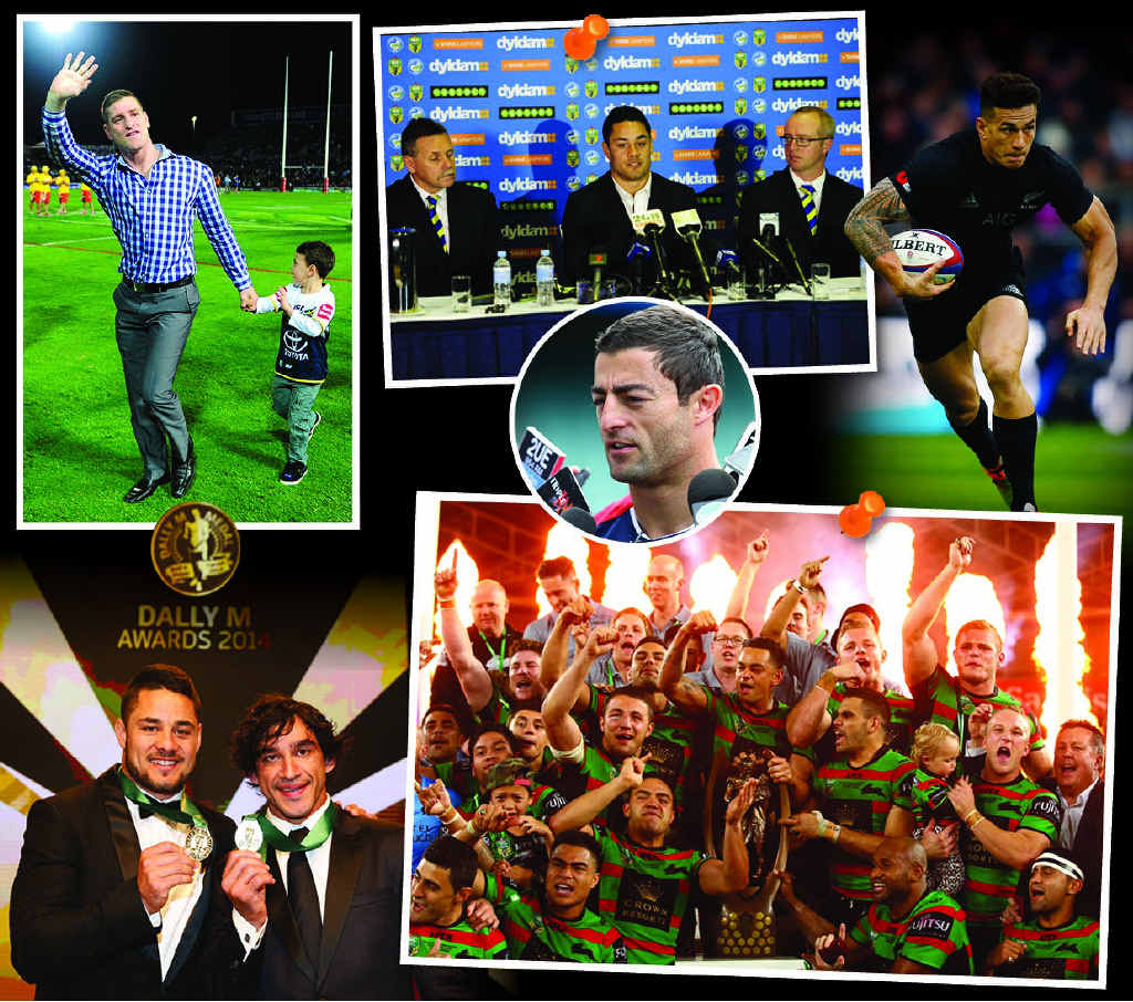 CLOCKWISE: Cowboys centre Brent Tate was farewelled, Jarryd Hayne announced he was quitting the game; Anthony Minichiello retired; Sonny Bill Williams changed codes again; Glory Glory to South Sydney; Dally M deadlock.