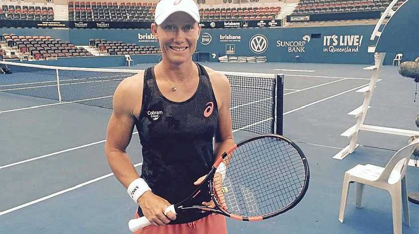 ALL SET: Samantha Stosur ready for a workout at Pat Rafter Arena yesterday.