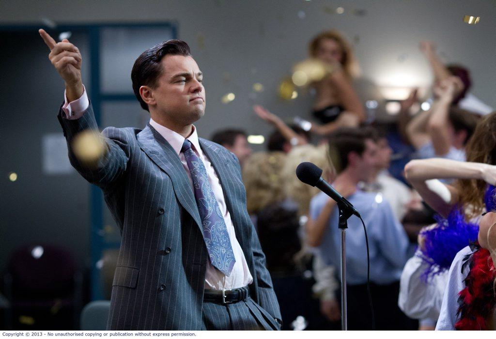 Leonardo DiCaprio as Jordan Belfort in The Wolf of Wall Street.