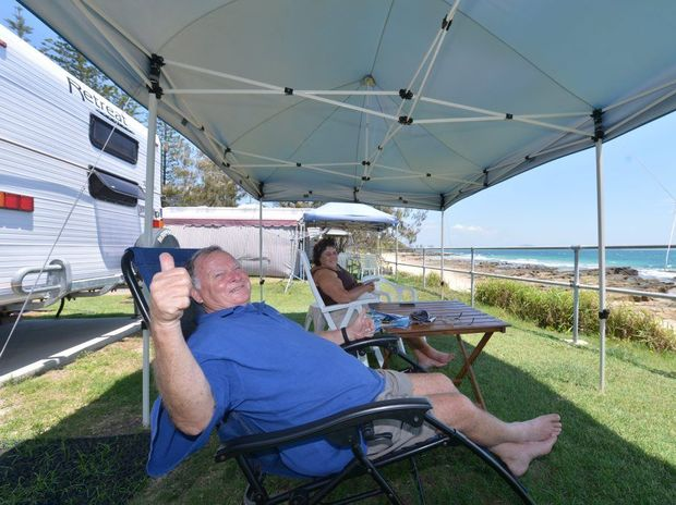 Bev and Michael Preston at Mooloolaba Caravan Park for the festive season. Photo: John McCutcheon / Sunshine Coast Daily