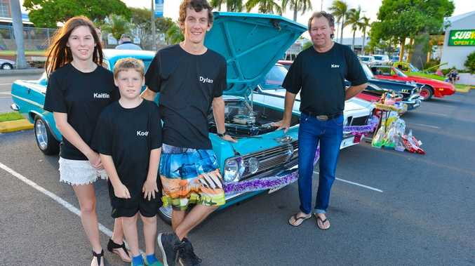 Gladstones Old School Car Show and Shine December 20,2014 at the Gladstone Valley Carpark. Kev McLachlan shows off his pride and joy his two children Kaitlin McLachlan, 16, Kody McLachlan, 10, and their friend Dylan Pink, 20. Photo Mike Richards / The Observer