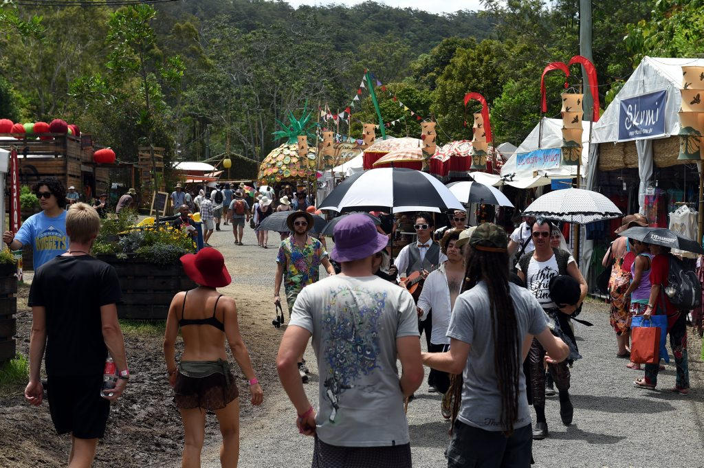 Image for sale: Crowds fill the streets of Woodford Folk Festival.