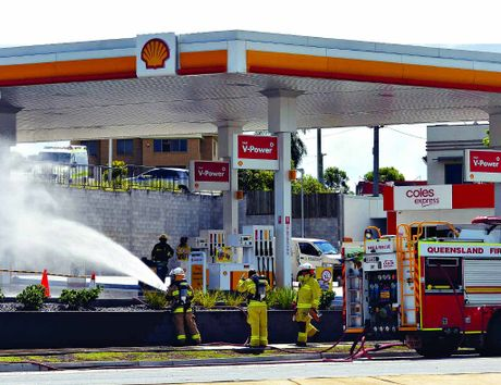 ON THE SPOT: Emergency services attend a gas leak at a service station on the Bruce Hwy.