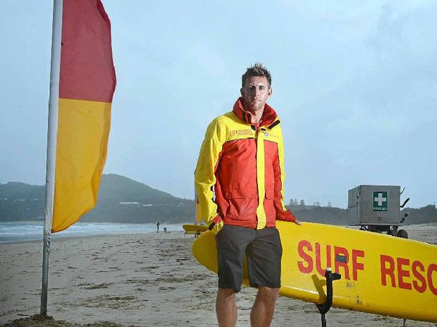 BUSY SUMMER: Northern NSW life guard co-ordinator Scott McCartney at Main Beach, Byron Bay. Lifeguards are warning people to be safe at the beach ahead of the upcoming king tide.