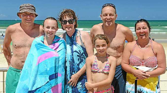 WHAT WE NEED: Simon Butler, Ellie Butler, Sue Robson, and Tilly, Andy and Sharon Butler from the Isle of Wight enjoy New Year's Day at Alexandra Beach.