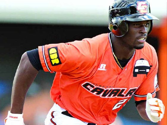Anthony Alford shows dash between the bases during the Canberra Cavalry's Australian Baseball League clash with the Adelaide Bite on Monday.