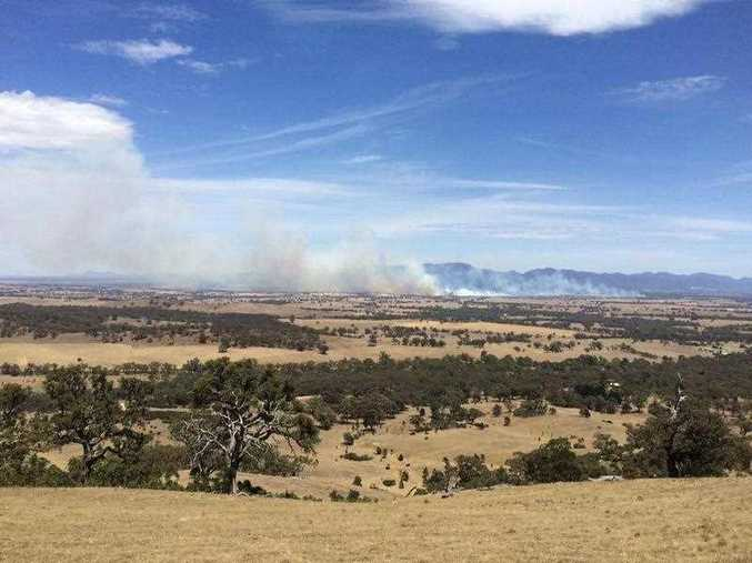 A supplied image obtained Friday, Jan. 2, 2015 of a grassfire outside the Victorian town of Moyston. An out-of-control bushfire is approaching the town of Moyston in the foothills of the Grampians in Victoria's west.