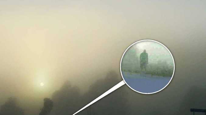 GHOST WHO WALKS? Gary Wait's photo of a foggy morning at Harwood revealed a ghostly figure alongside the Pacific Hwy. Photos: Contributed