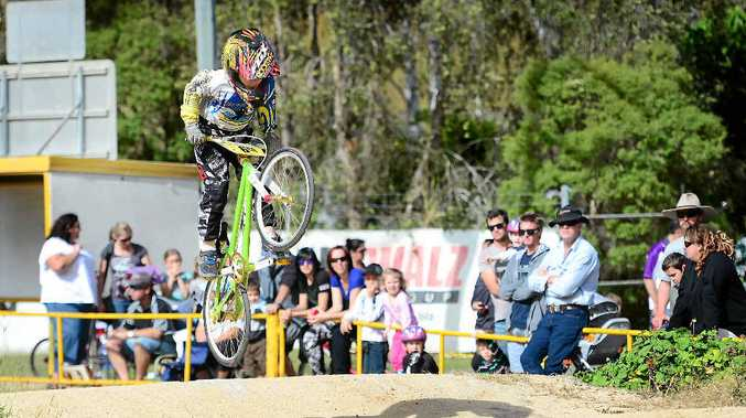 GOING UP: Toby Dunphy gets airborne at at the Sun Valley BMX track.