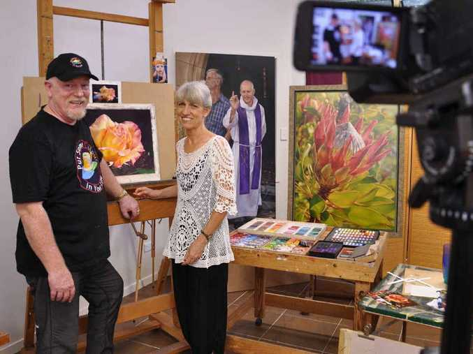 IN FOCUS: Colour in Your Life presenter Graeme Stevenson with Yeppoon artist Lyn Diefenbach.