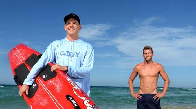 Luke Chaffer and Scott McCartney at Kingscliff beach. Photo: John Gass / Tweed Daily News