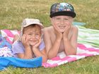Mikayla Algar and her brother Elijah have fun at Mackay harbour. Photo Peter Holt / Daily Mercury