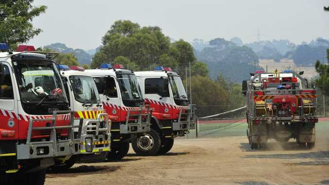 CFA staging area in One Tree Hill as fires continue to burn through the Adelaide Hills, Sunday, Jan. 4, 2015. (AAP Image/David Mariuz )No Archiving.