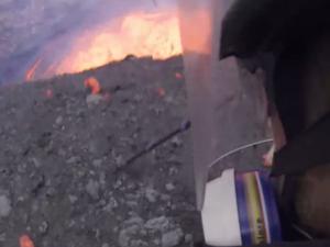Filming inside a live volcano on Ambrym, Vanuatu