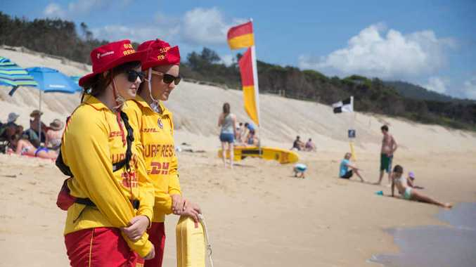 LIFESAVING: Mikaela Hicks and Zara Beckett at Park Beach.