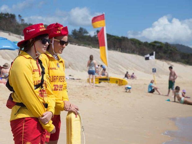 LIFESAVING: Mikaela Hicks and Zara Beckett at Park Beach.