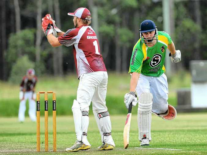 Stingrays batsman Matt Francis makes his ground in the 2014 Sommers Cup T20 clash with Ghosts. Photo: Leigh Jensen