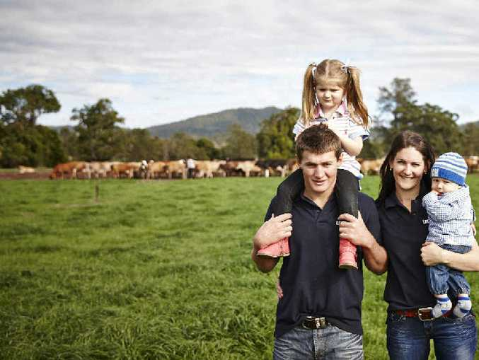 ON THE UP: Kenilworth dairy farmer Chad Parker and his wife Carita are raising their family on the farm and overcoming challenges in the industry.
