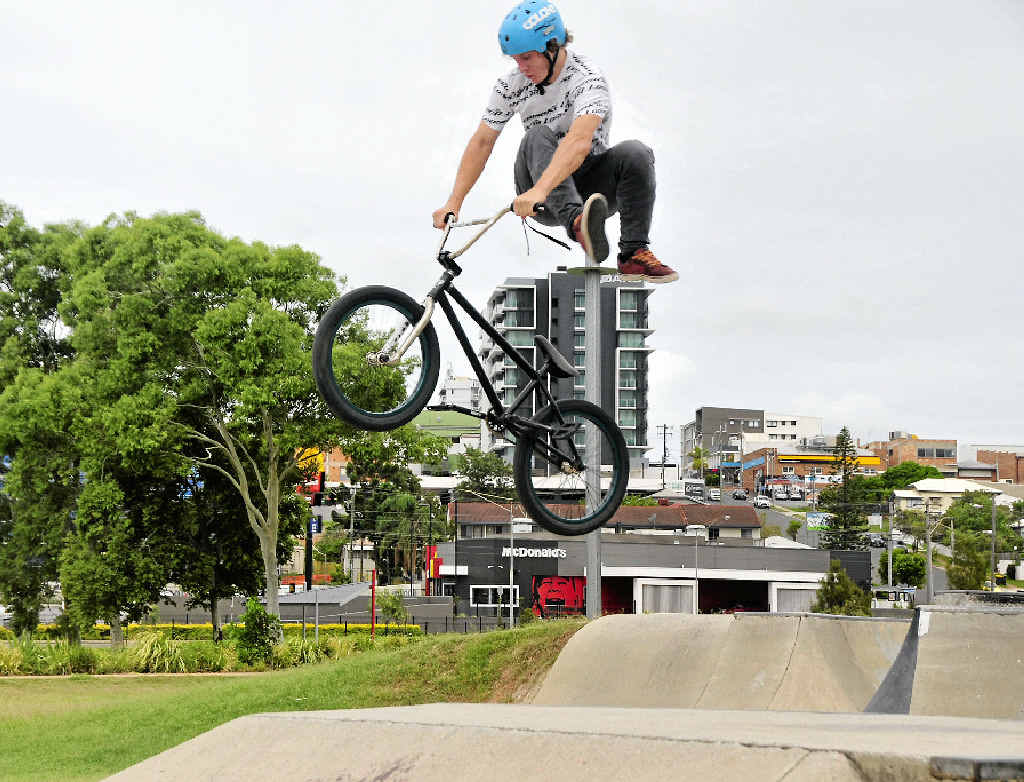 WAY TO GO: Andrew Sullivan is right at home in the air over the box at the Gladstone Skate Park.