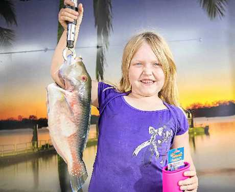 GREAT CATCH: Emma Daley hooked a 0.885kg parrot/ tusk fish at the Boyne-Tannum Hookup event on Boyne Island.