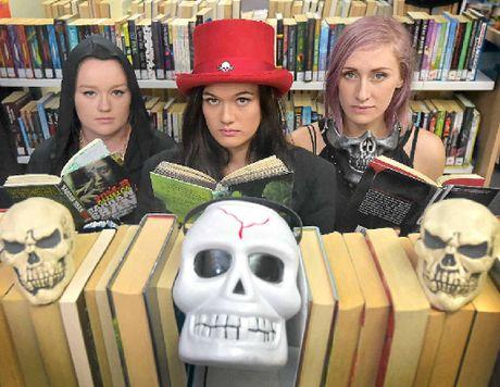 CLUE TIME: Grace Shepherd, Dana Healy and Sasha Maddison prepare for Book of Bones.