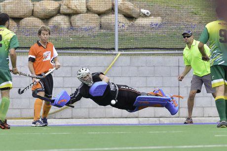 Sparks vs Meteors Hockey - Meteors' goal keeper Jason McLay.