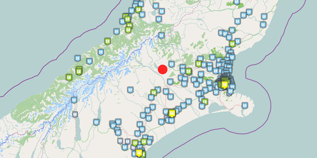 This GNS map shows the location of the 6.4 magnitude quake in red, with some of the first 'felt reports' it received from around the region.