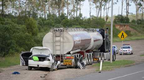 The scene of a crash on Redbank Plains Road at Blackstone that occurred in the early hours of Wednesday morning. Photo: Rob Williams / The Queensland Times