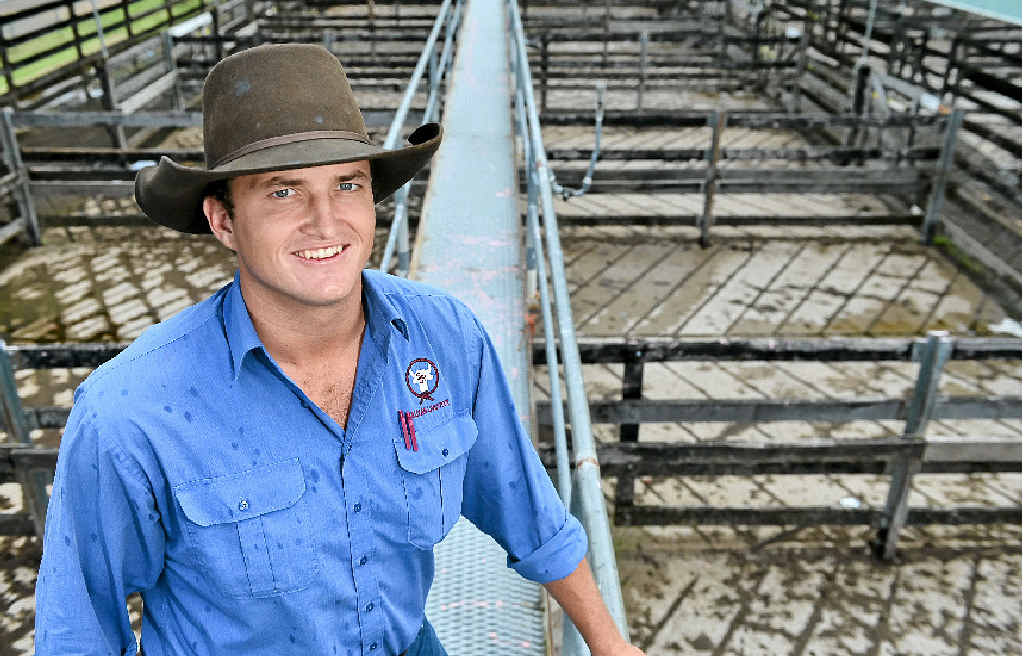 RIGHT NOTE: Sullivan Livestock auctioneer James Cochrane ready for the first cattle sale of the year at the Gympie Saleyards.