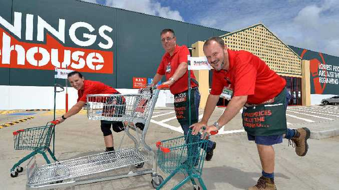 NEW STORE: Bunnings Mackay North's team member Elizabeth Moroney, complex manager Peter Coyle and operations manager Col Hill have all staff on board.