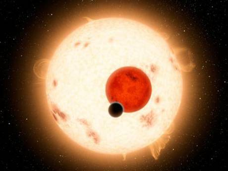 An artist's impression of Kepler-16b, a world where two suns set over the horizon instead of just one, the planet is the most