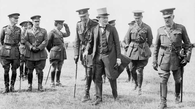 Winston Churchill with the British Army Council on an official visit to the Western Front in the early part of the First World War. Courtesy of Australian War Memorial H12243