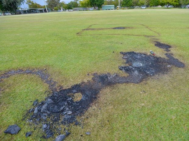 A fire was lit on the cricket field at Clinton oval on Wednesday night as thieves broke into storage sheds and stole thousands of dollars of sporting equipment.