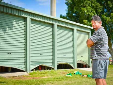THE roller doors of the four sporting sheds at Clinton Oval were broken into overnight with thousands of dollars of sporting equipment stolen. Brothers Cricket Club curator Peter Clarke surveys the damage.