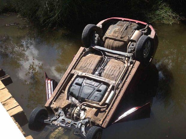 LUCKY ESCAPE: A doctor ran his car off Running Creek Bridge.