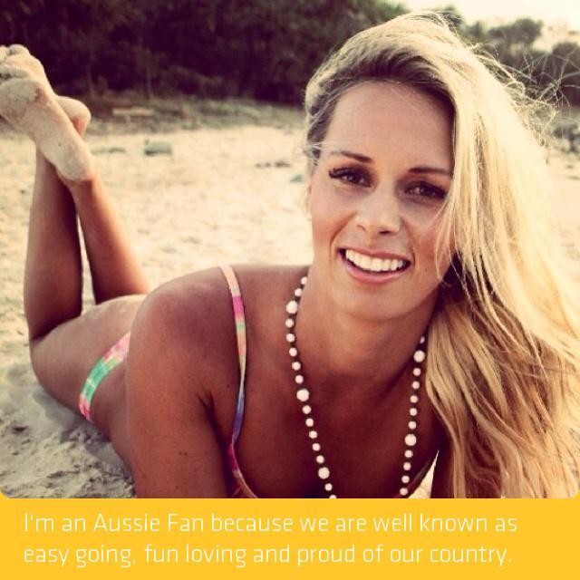 Ironwoman champ Courtney Hancock with her #AussieFan message.