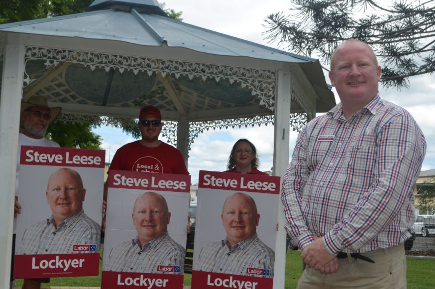 The ALP's Steve Leese on the campaign trail in Gatton.